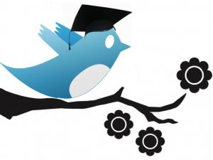 Twitter bird in academic cap
