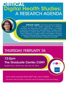 Deborah Lupton talk - flyer